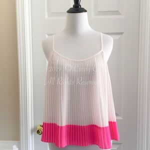 White Pink Color Block Pleated Tank Top | Size S
